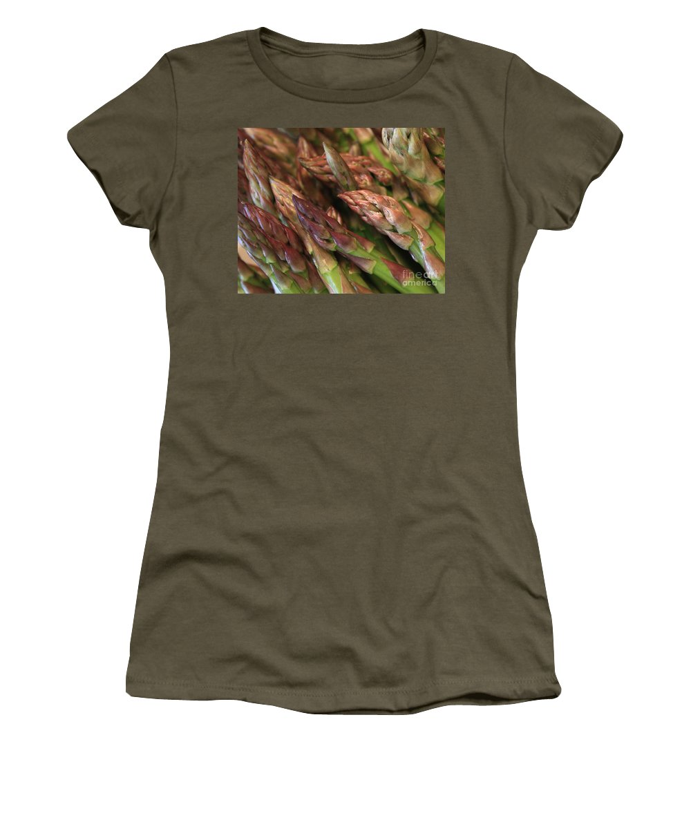 Asparagus Women's T-Shirt (Athletic Fit) featuring the photograph Asparagus Tips by Carol Groenen