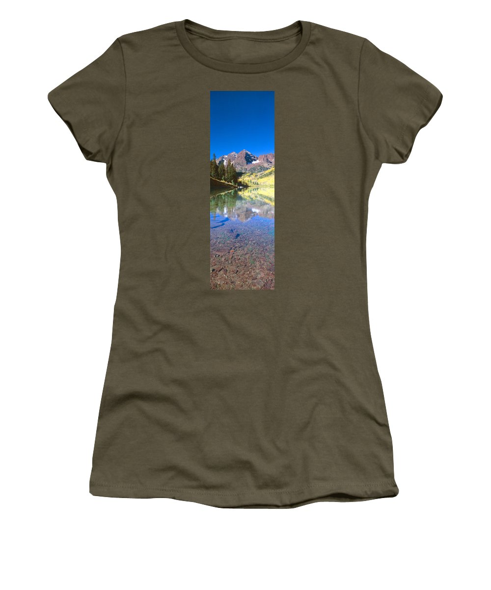 Photography Women's T-Shirt featuring the photograph Aspens And Morning Light, Maroon Bells by Panoramic Images