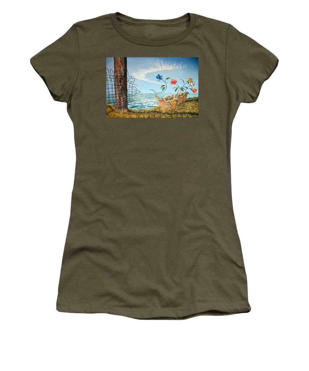 Flower Women's T-Shirt (Athletic Fit) featuring the painting At The End Of The Fence I Am Free by Christopher Shellhammer