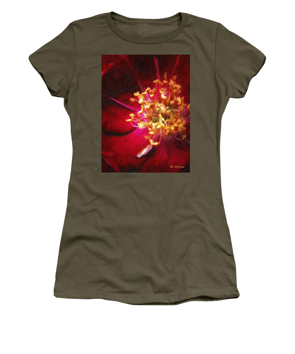 Flower Women's T-Shirt featuring the painting At The Heart Of It All by RC DeWinter