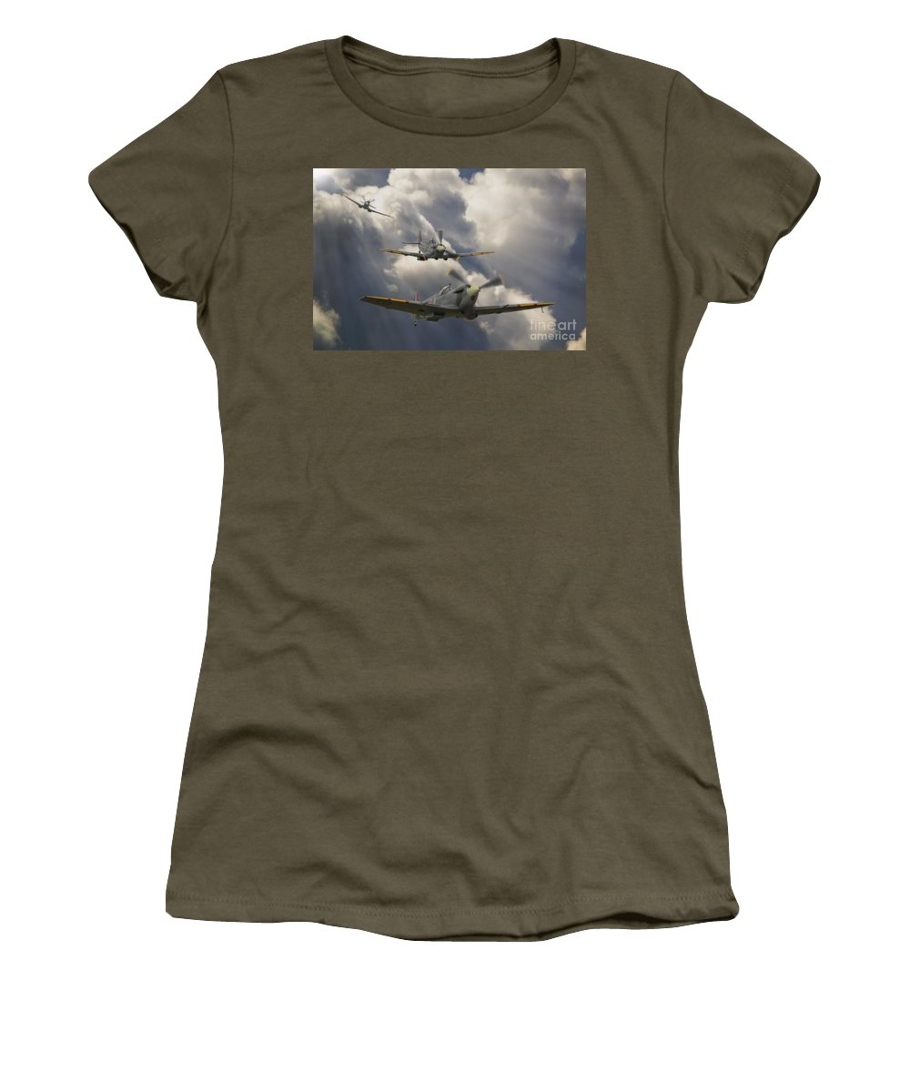 Spitfire Women's T-Shirt featuring the digital art Attack Out Of The Sun by Nigel Bangert