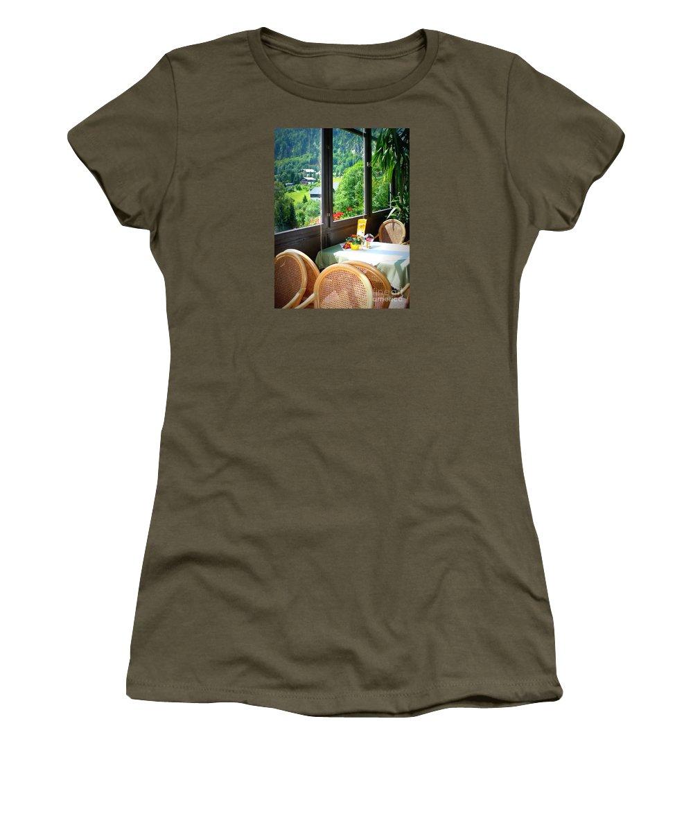 Austria Women's T-Shirt featuring the photograph Austrian Cafe by Carol Groenen