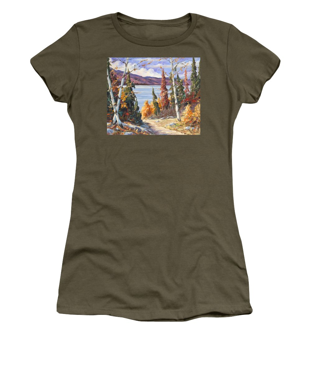 Art Women's T-Shirt (Athletic Fit) featuring the painting Automn Colors by Richard T Pranke