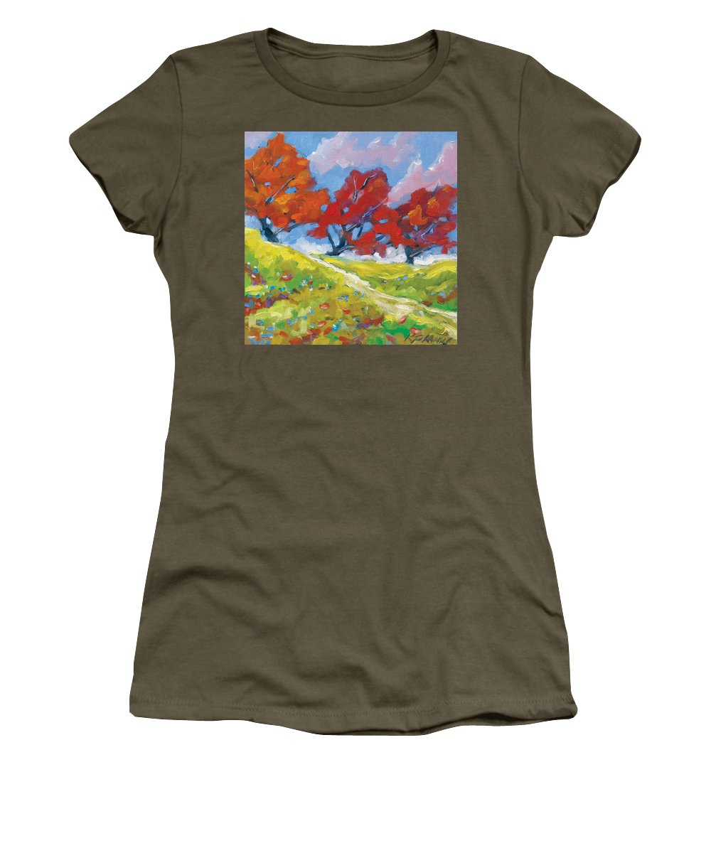 Art Women's T-Shirt featuring the painting Automn Trees by Richard T Pranke