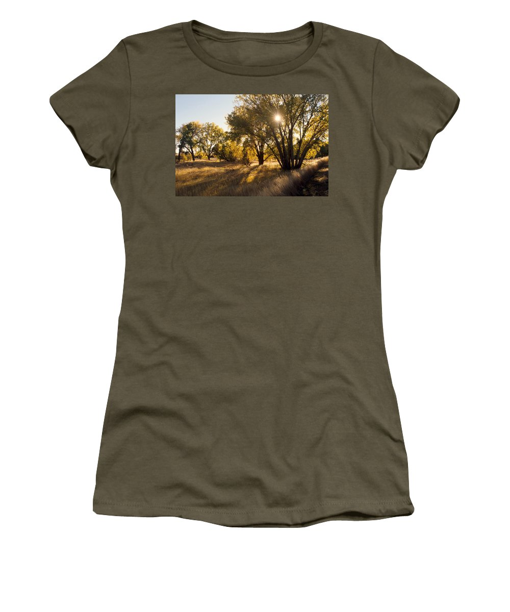 Fall Women's T-Shirt (Athletic Fit) featuring the photograph Autum Sunburst by Jerry McElroy