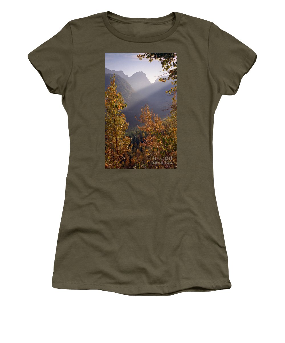 Mountains Women's T-Shirt (Athletic Fit) featuring the photograph Autumn At Logan Pass by Richard Rizzo