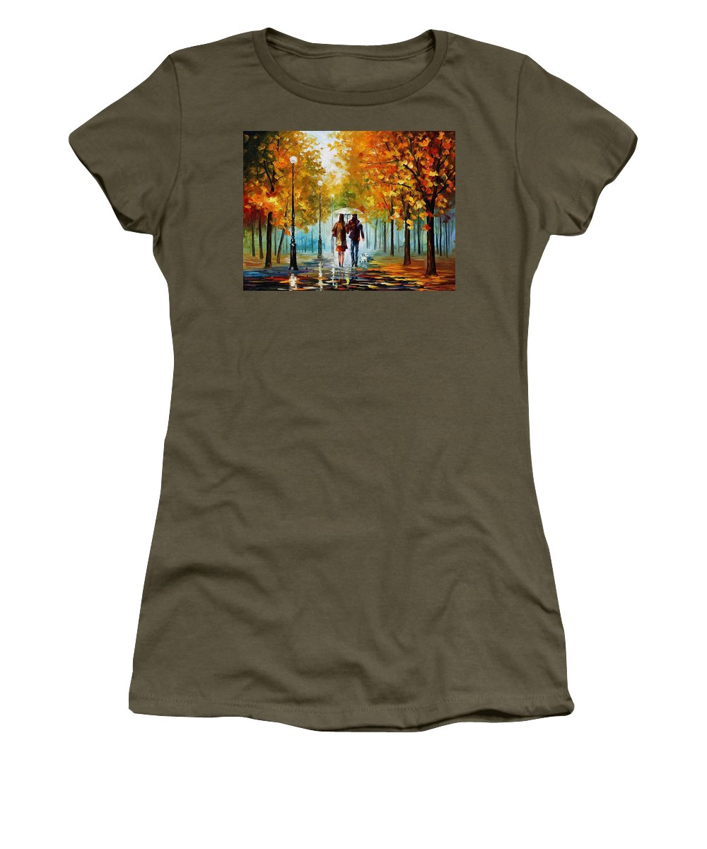 Afremov Women's T-Shirt featuring the painting Autumn Elegy by Leonid Afremov