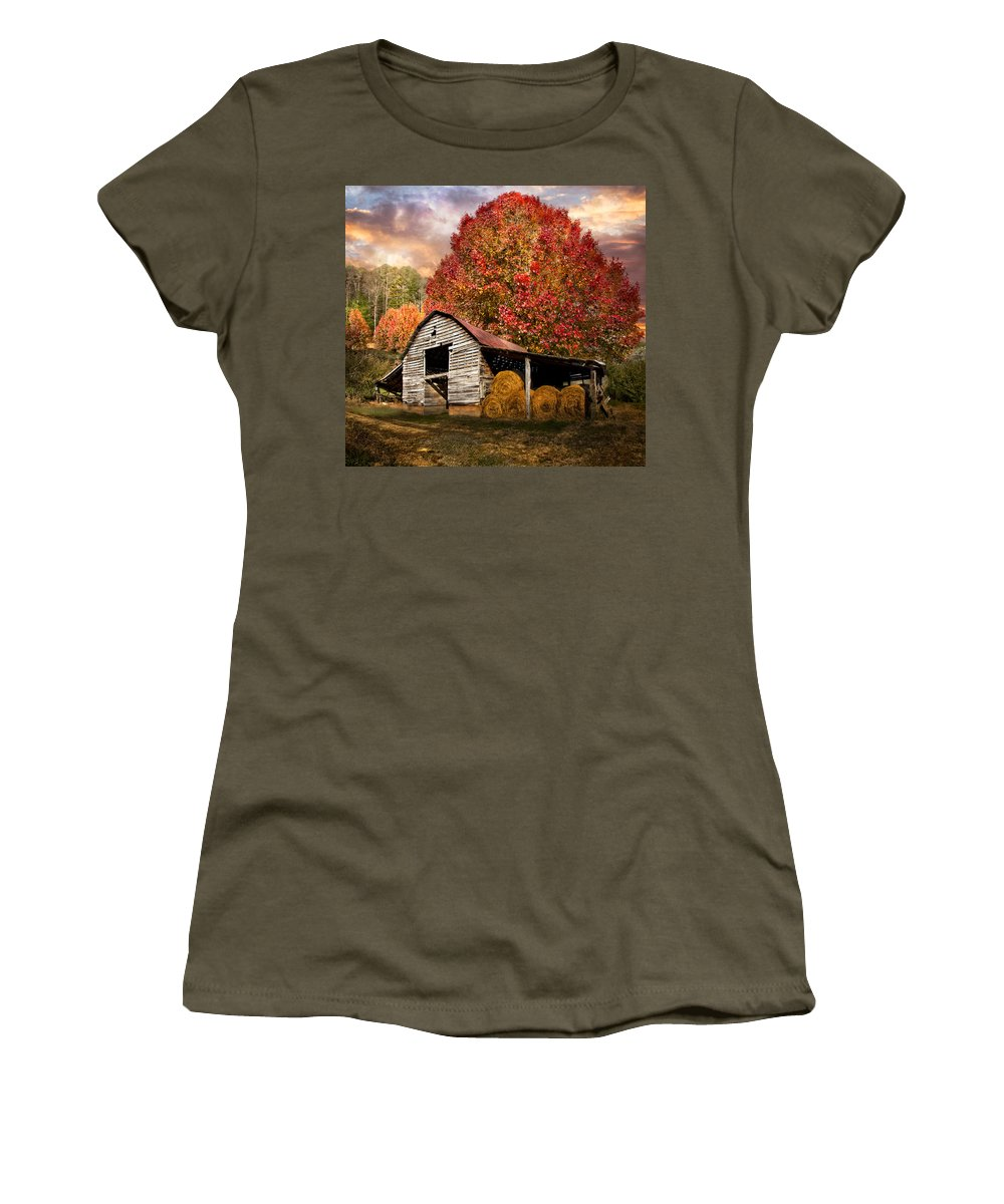 Appalachia Women's T-Shirt featuring the photograph Autumn Hay Barn by Debra and Dave Vanderlaan