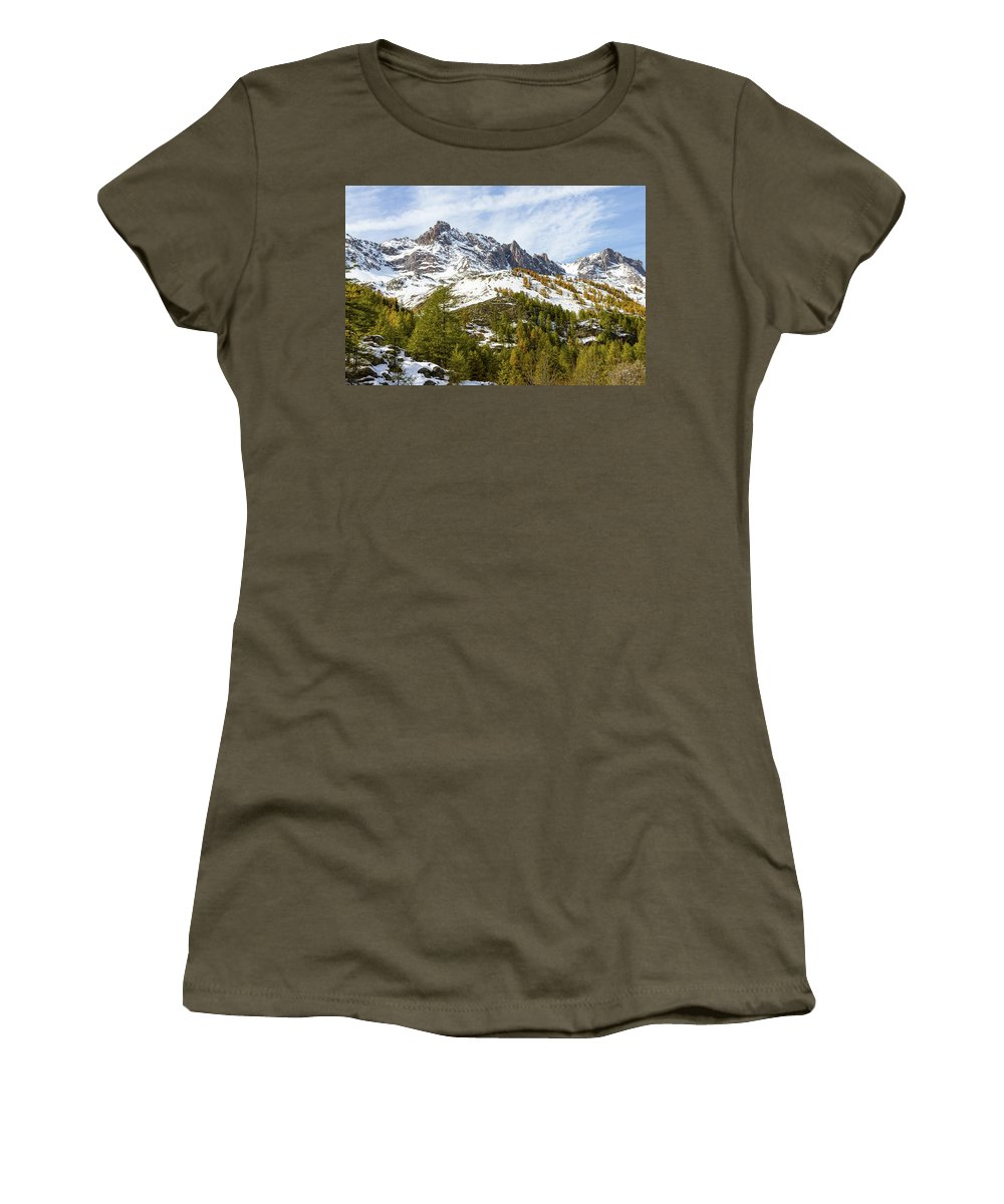 Mountain Landscape Women's T-Shirt featuring the photograph Autumn In French Alps - 18 by Paul MAURICE