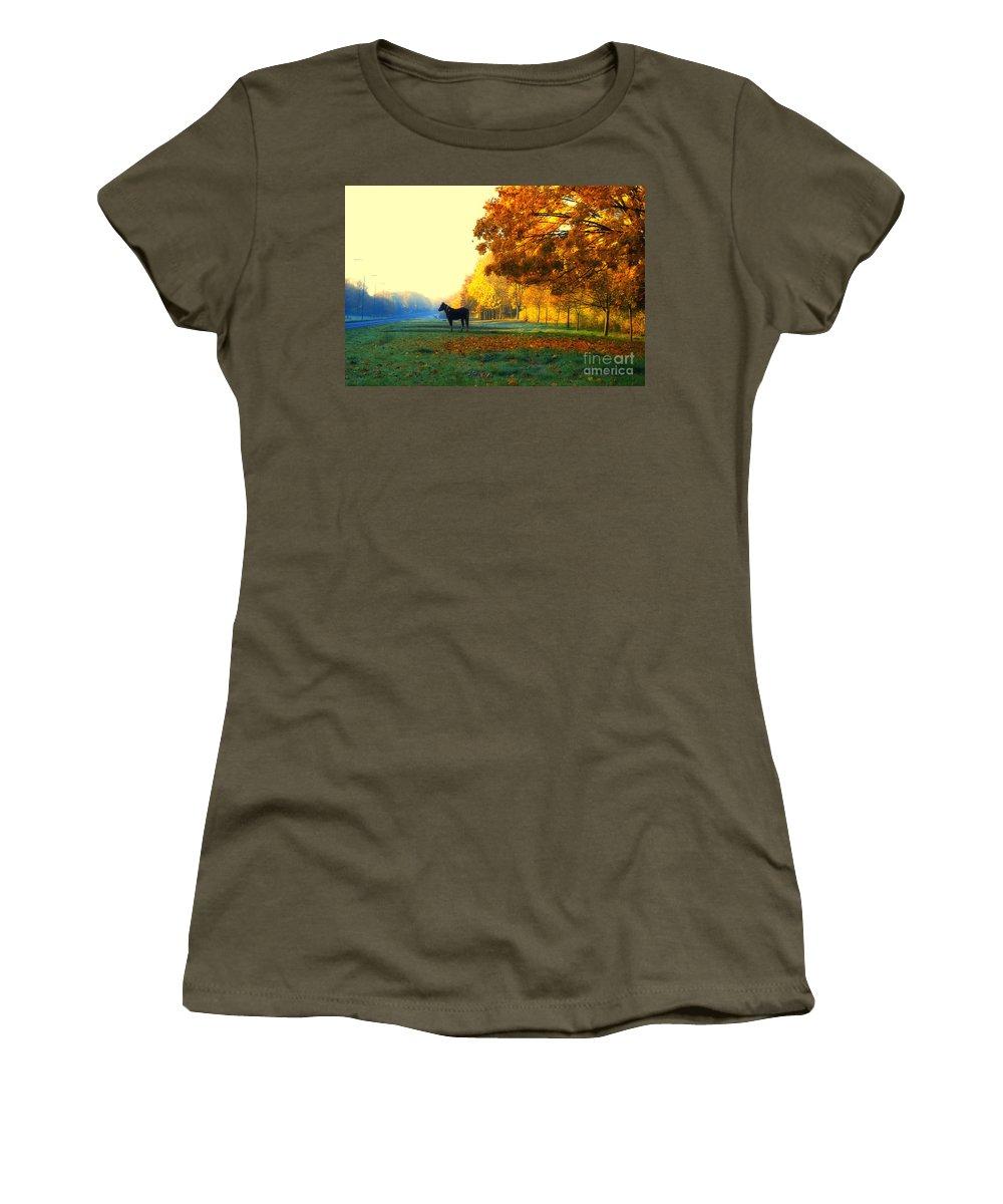 Harlow Women's T-Shirt featuring the digital art Autumn In Kathrines Way by Nigel Bangert