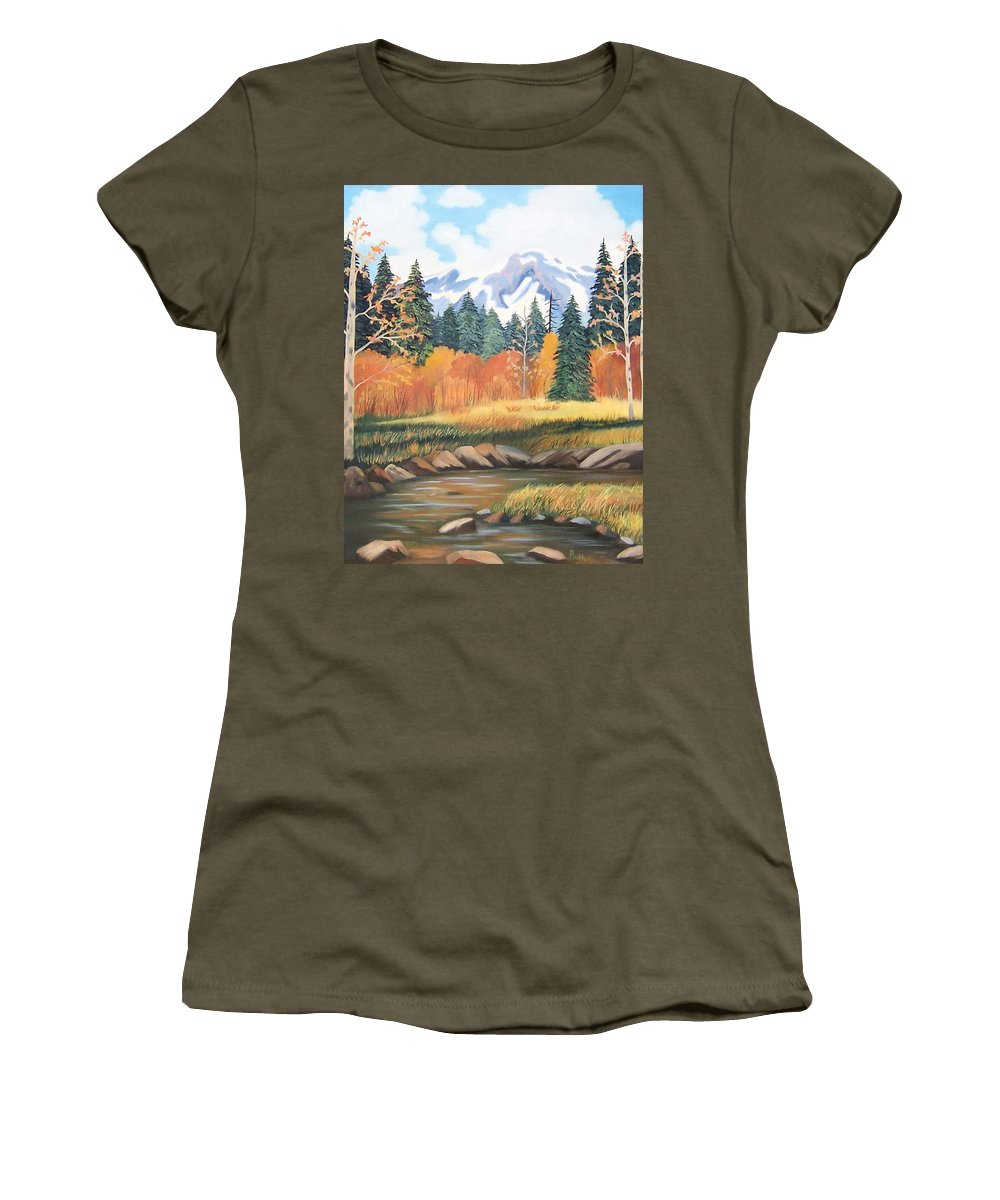 Landscape Women's T-Shirt (Athletic Fit) featuring the painting Autumn In The Mountans by Ruth Housley