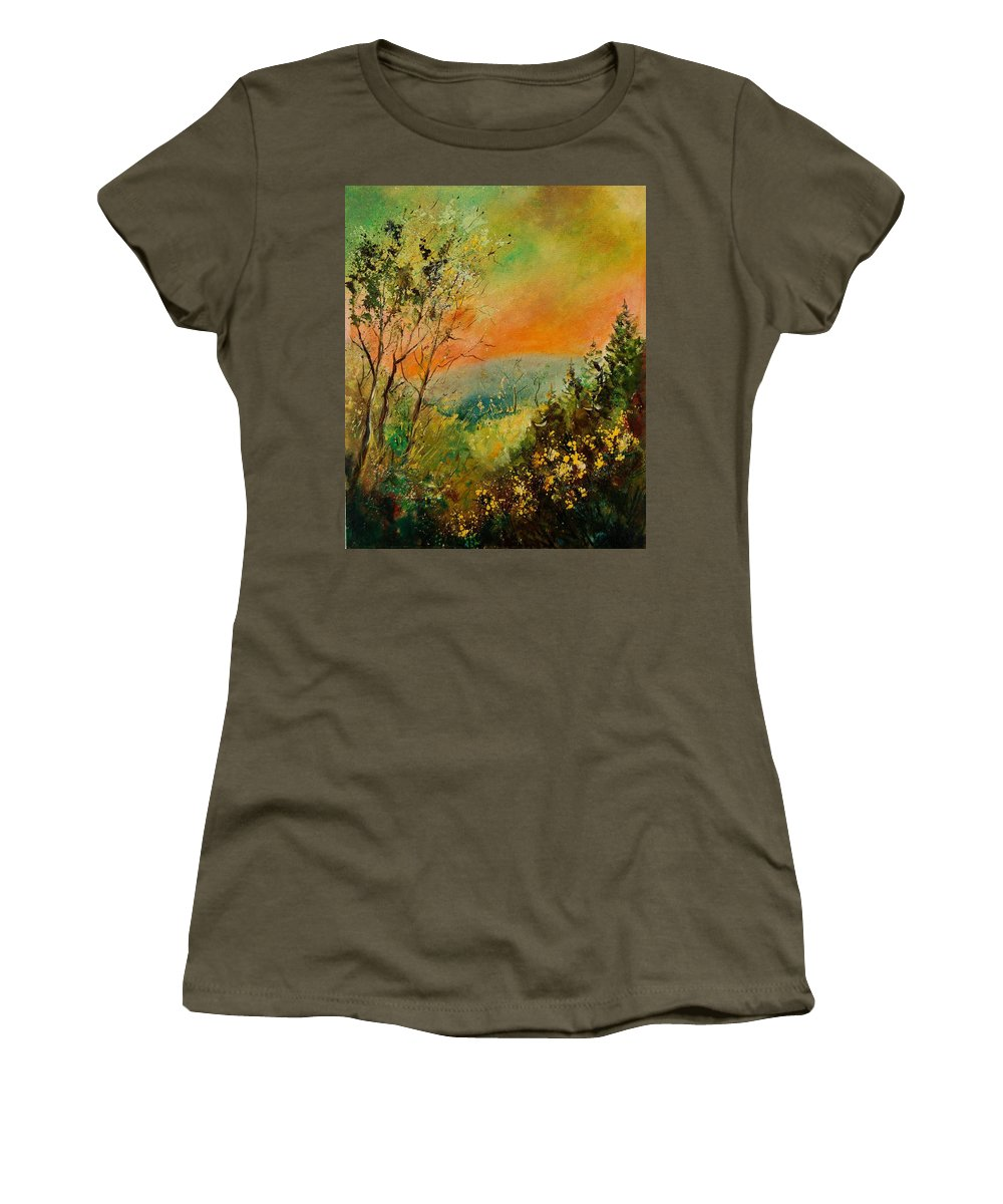 Tree Women's T-Shirt (Athletic Fit) featuring the painting Autumn Landscape 5698 by Pol Ledent