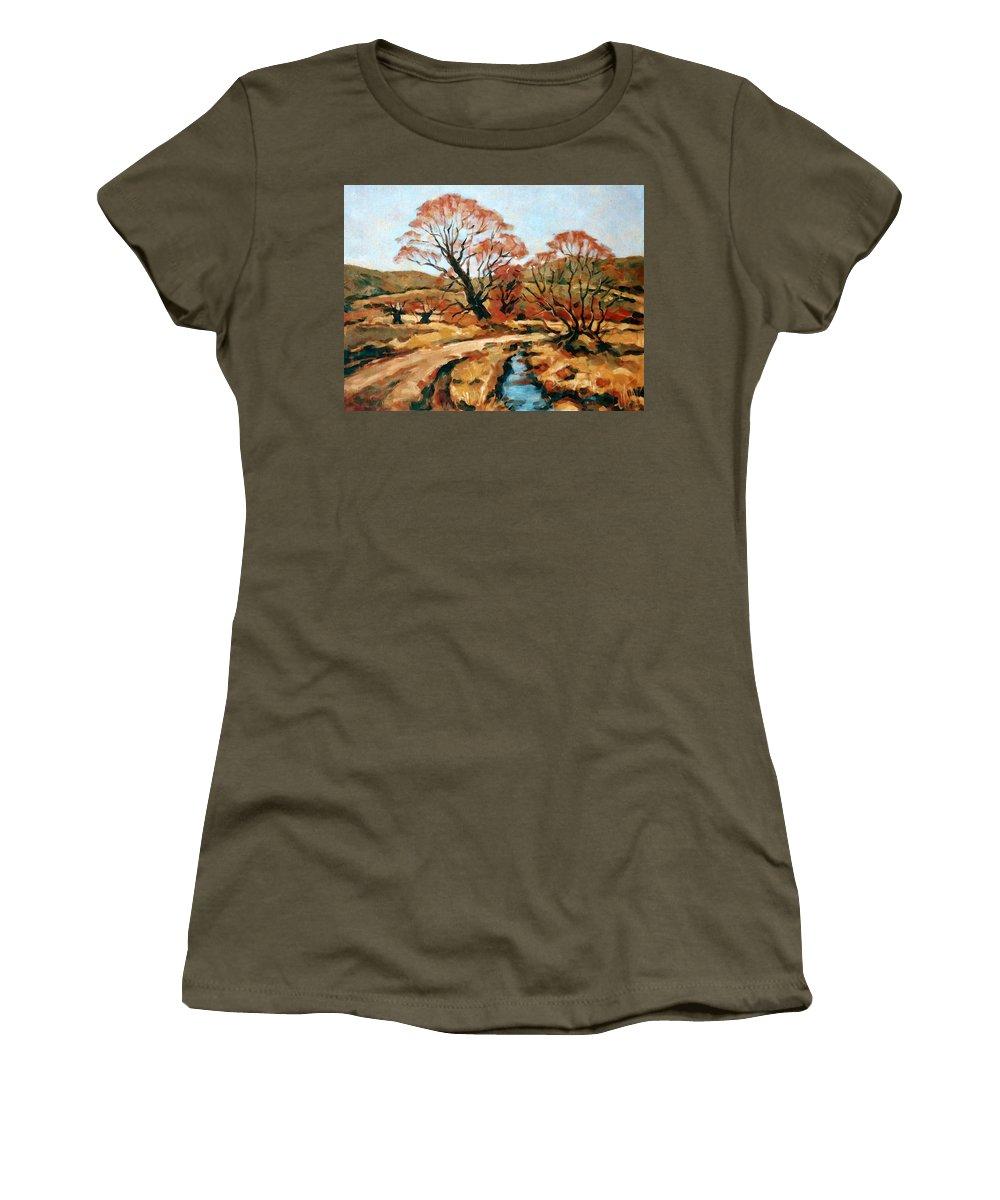 Landscape Women's T-Shirt featuring the painting Autumn Landscape by Iliyan Bozhanov