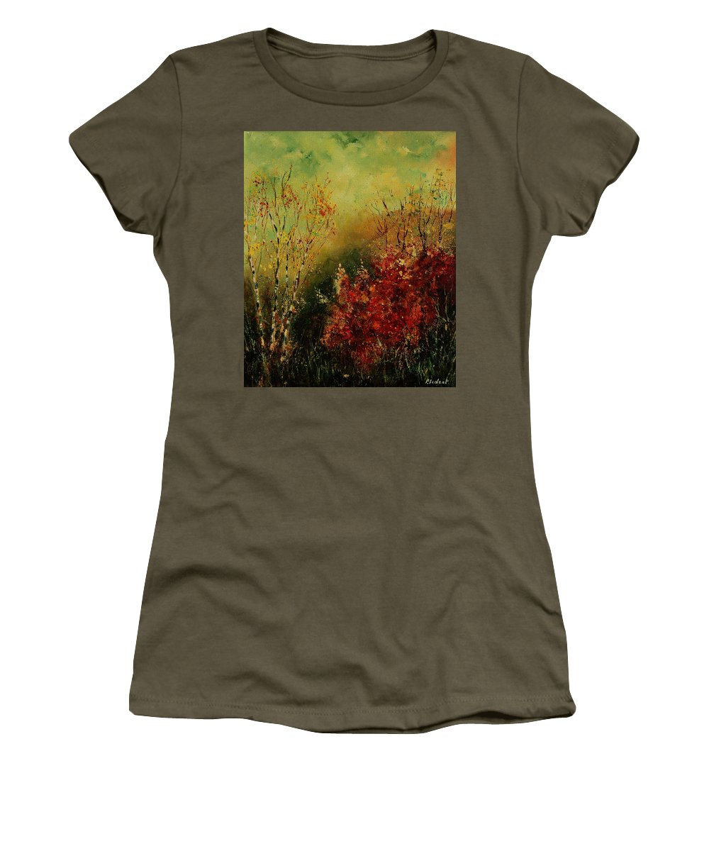 Tree Women's T-Shirt (Athletic Fit) featuring the painting Autumn Lanfscape by Pol Ledent