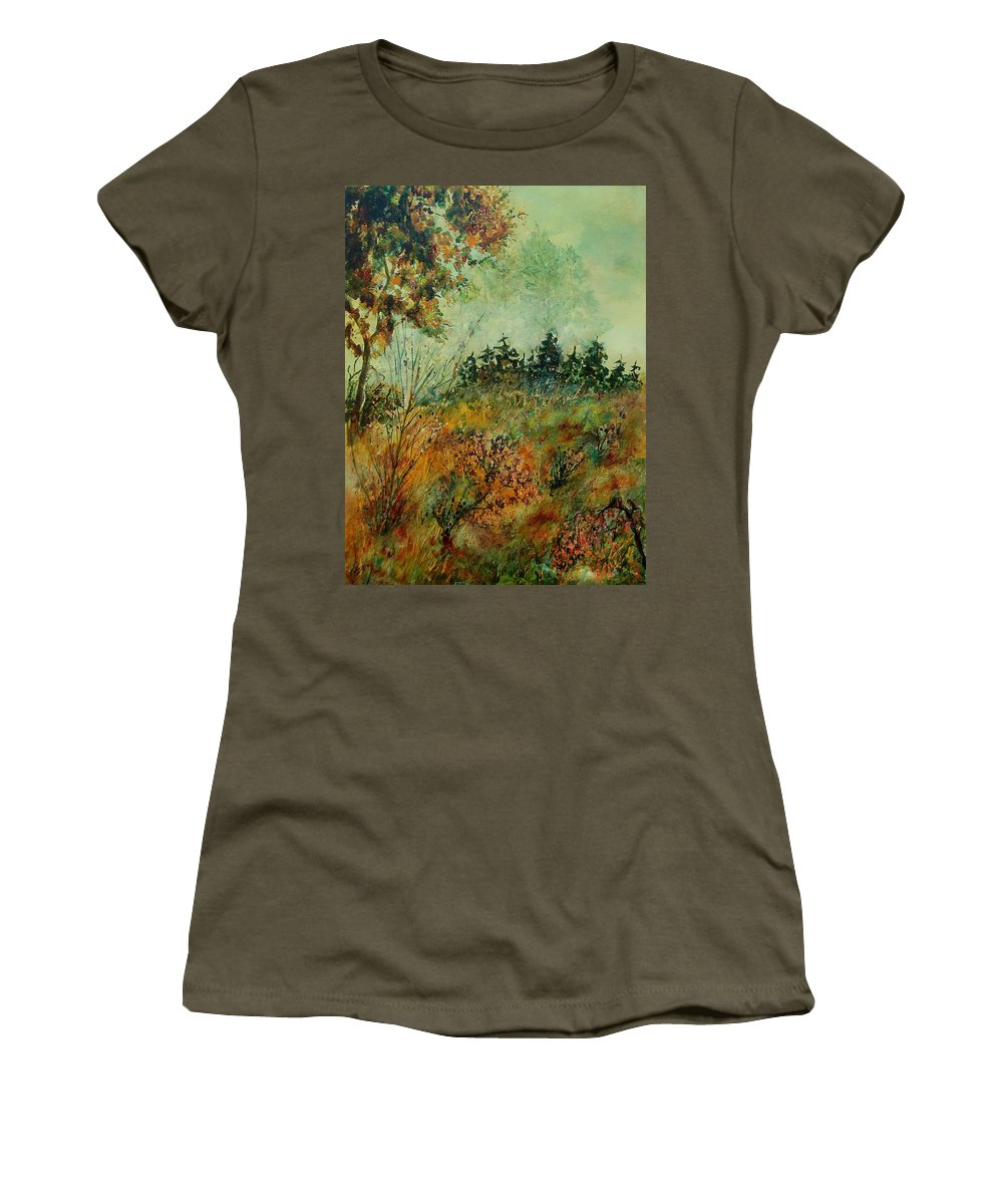 Tree Women's T-Shirt (Athletic Fit) featuring the painting Autumn Mist 68 by Pol Ledent