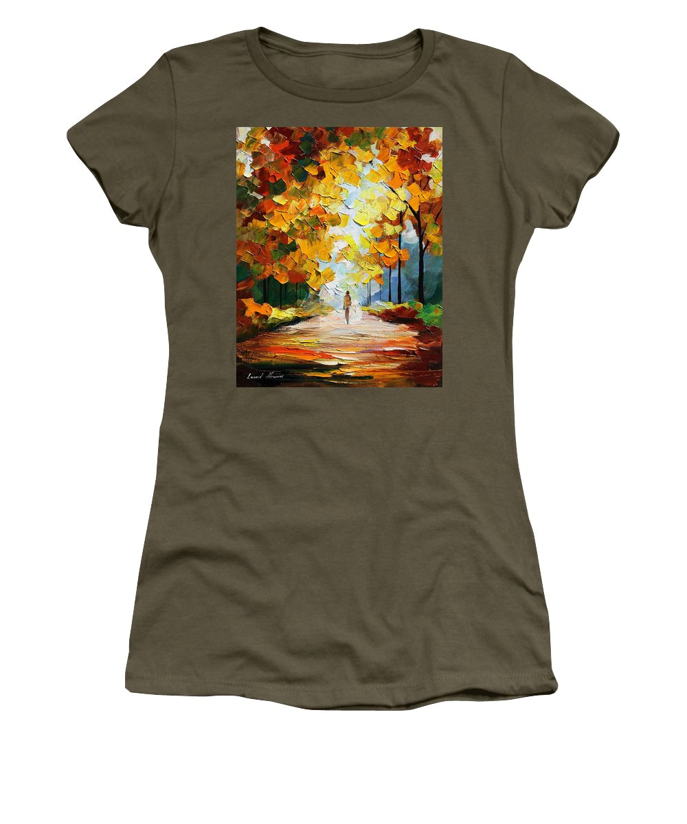 Landscape Women's T-Shirt featuring the painting Autumn Mood by Leonid Afremov