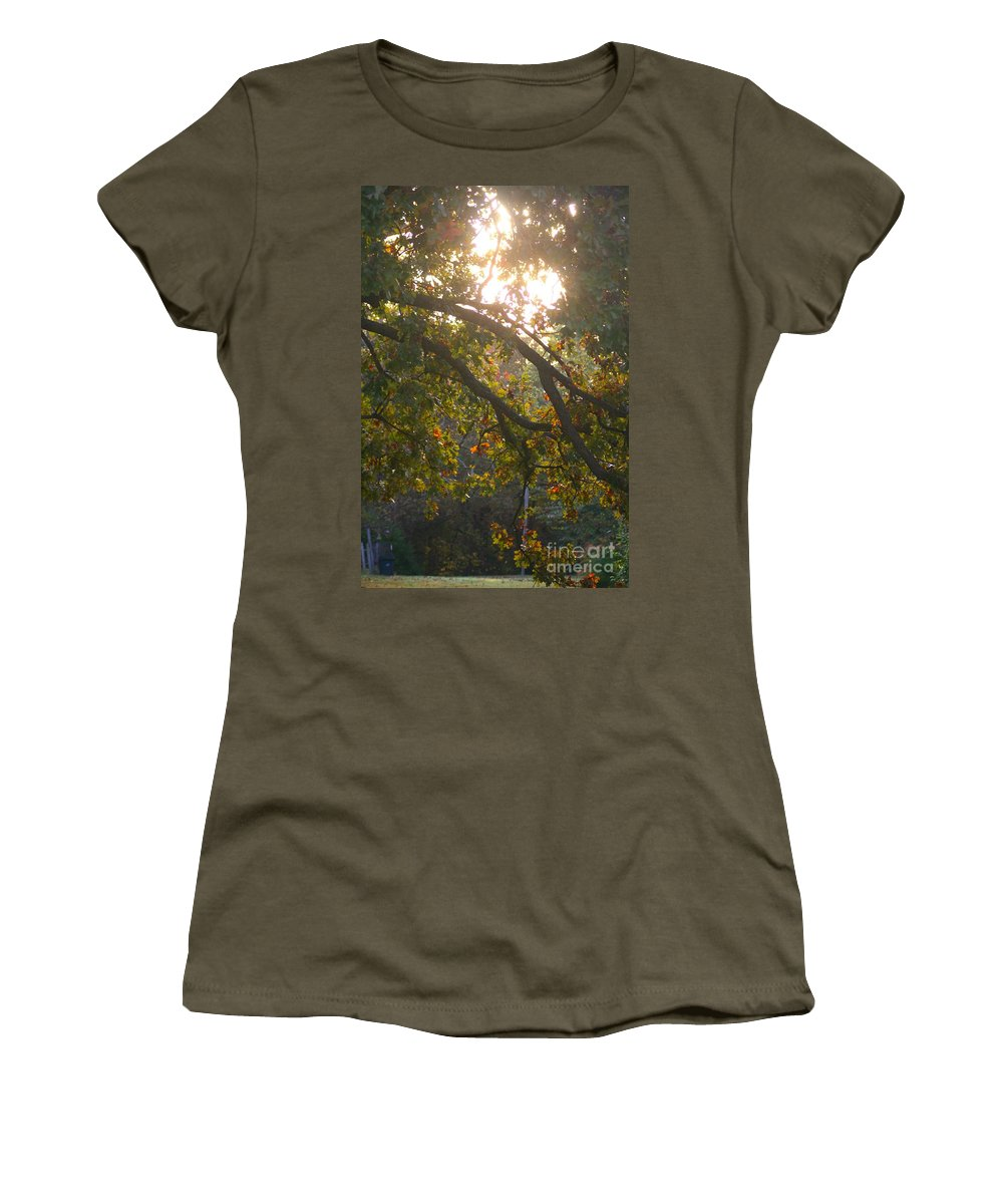 Autumn Women's T-Shirt featuring the photograph Autumn Morning Glow by Nadine Rippelmeyer