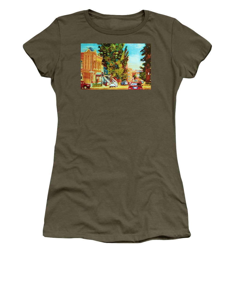Bagg Street Synagogue Rue Bagg And Clark Women's T-Shirt (Athletic Fit) featuring the painting Autumn On Bagg Street by Carole Spandau