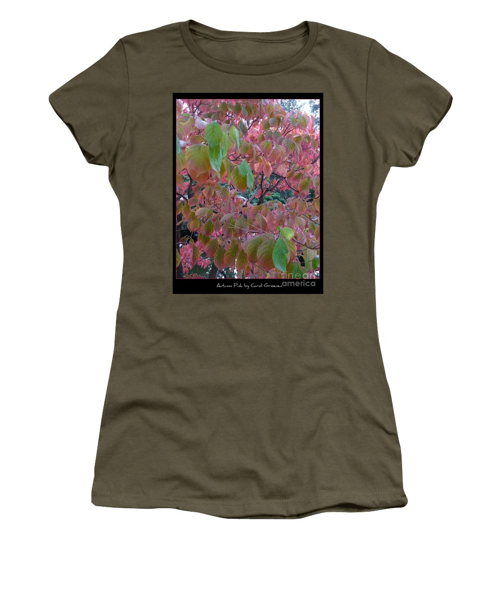 Fall Women's T-Shirt (Athletic Fit) featuring the photograph Autumn Pink Poster by Carol Groenen