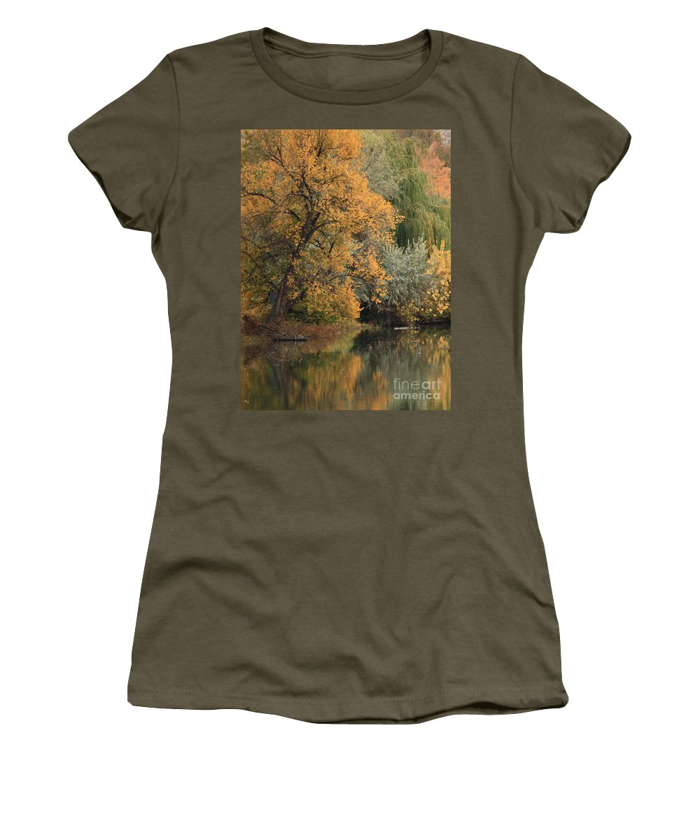 Landscape Women's T-Shirt (Athletic Fit) featuring the photograph Autumn Riverbank by Carol Groenen
