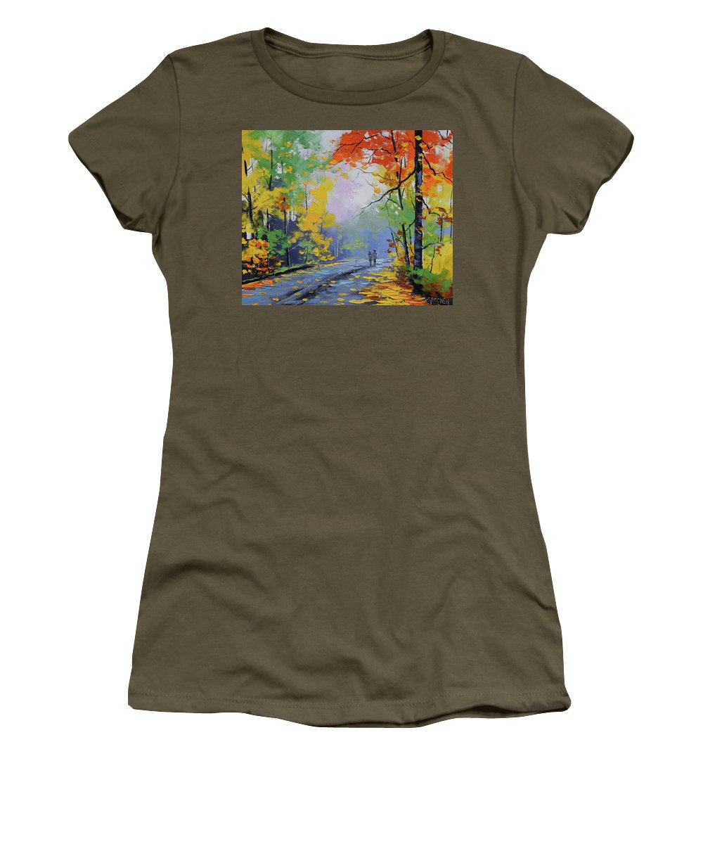Nature Women's T-Shirt featuring the painting Autumn Stroll by Graham Gercken