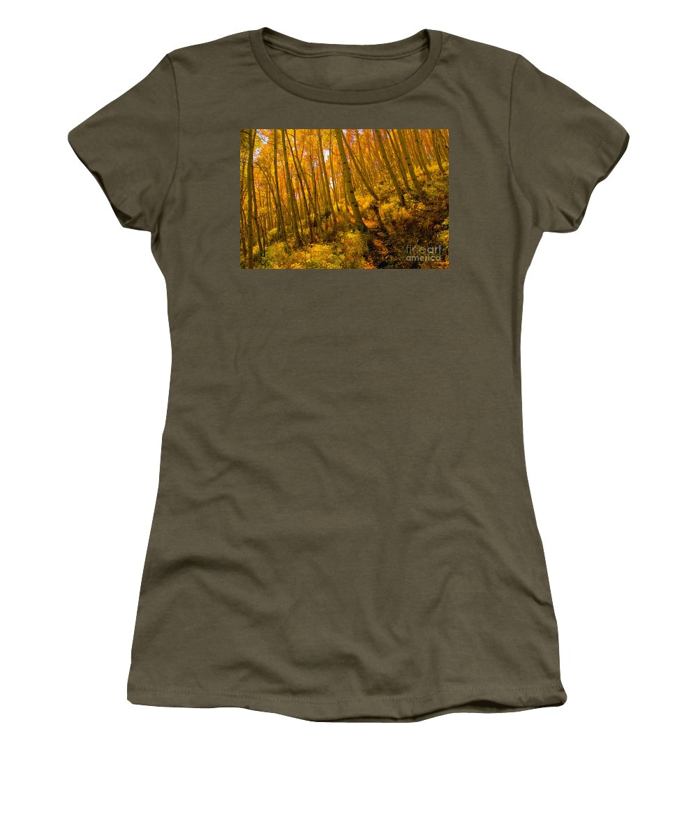 Autumn Women's T-Shirt (Athletic Fit) featuring the photograph Autumn Trail by David Lee Thompson