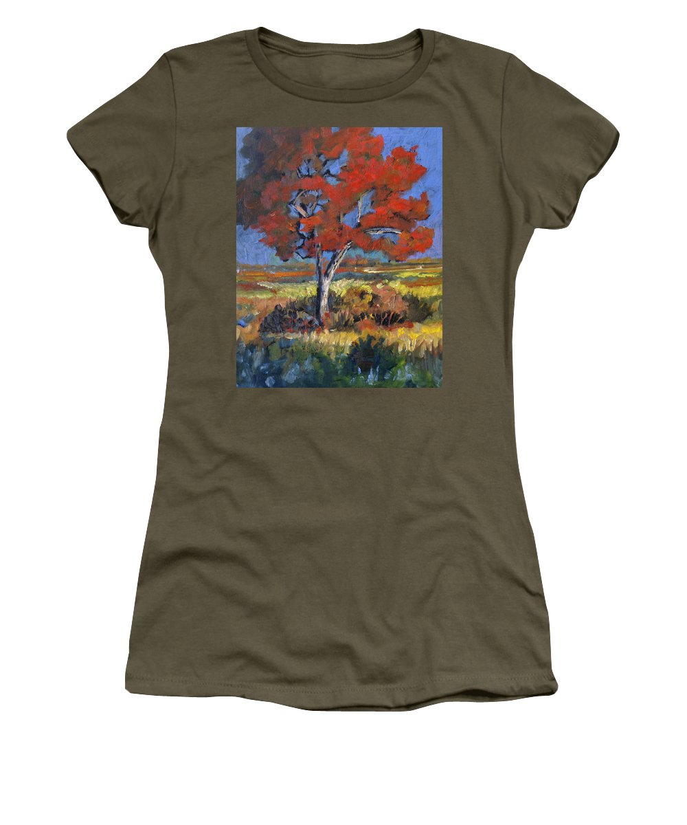 Autumn Women's T-Shirt featuring the painting Autumn Tree by Heather Coen