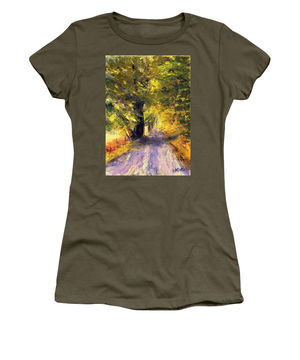 Autumn Women's T-Shirt (Athletic Fit) featuring the painting Autumn Walk by Gail Kirtz