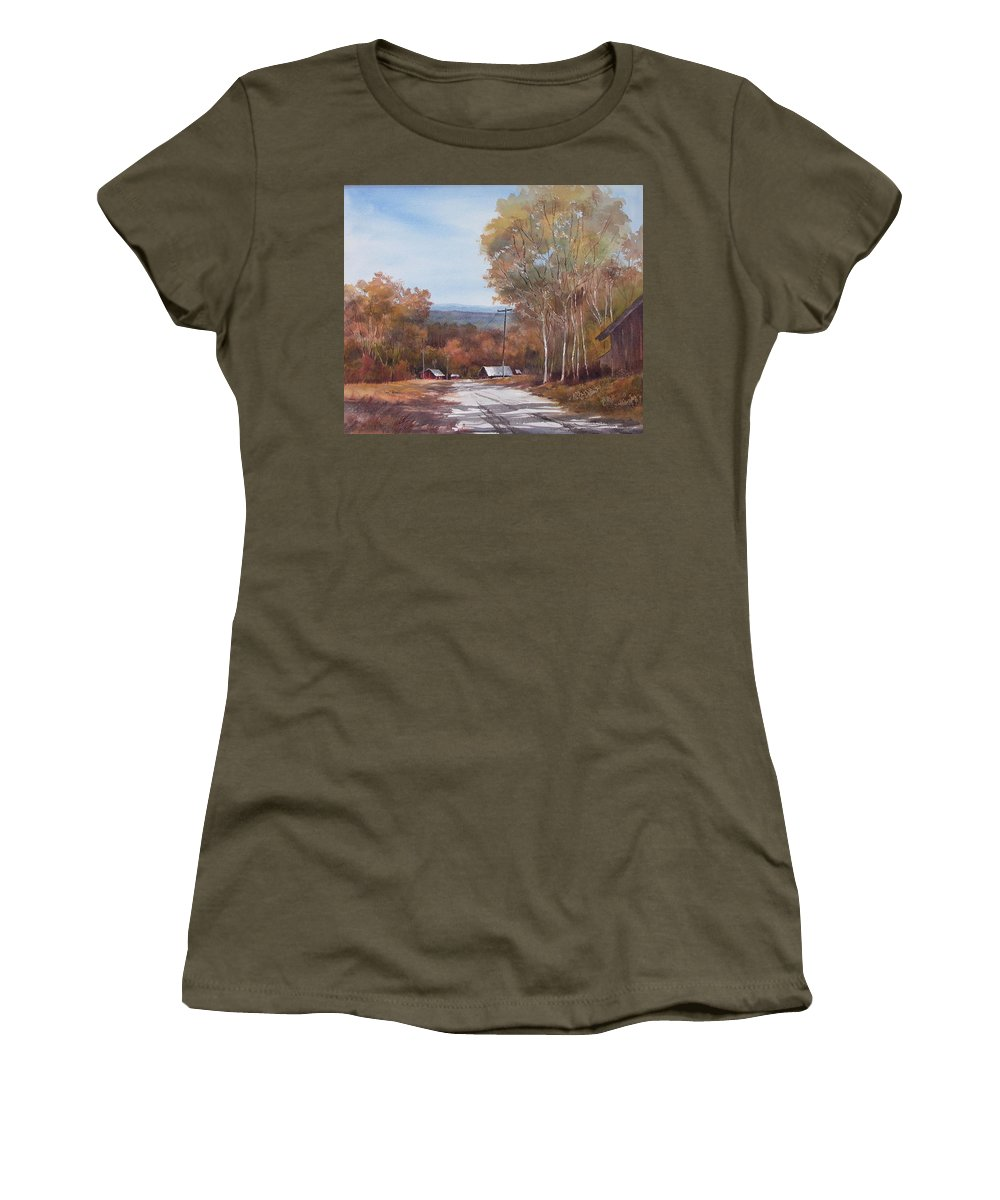 Landscape Women's T-Shirt featuring the painting Awesome Autumn by Tina Bohlman