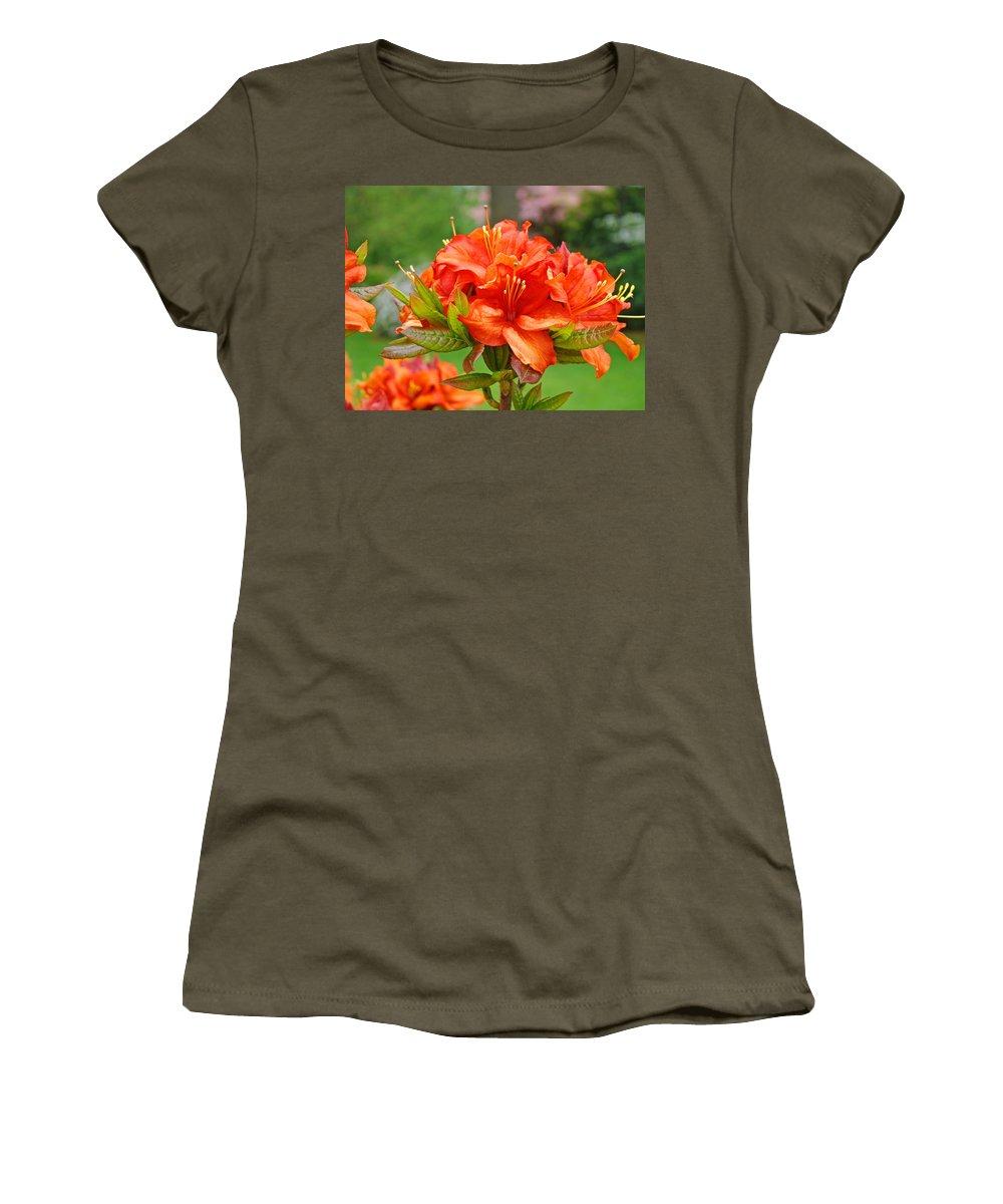 �azaleas Artwork� Women's T-Shirt (Athletic Fit) featuring the photograph Azaleas Art Home Decor 14 Orange Azalea Flowers Art Prints Greeting Cards by Baslee Troutman