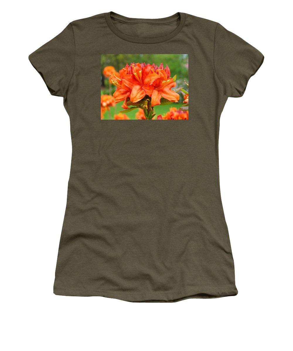 �azaleas Artwork� Women's T-Shirt (Athletic Fit) featuring the photograph Azaleas Orange Red Azalea Flowers 11 Botanical Giclee Art Baslee Troutman by Baslee Troutman
