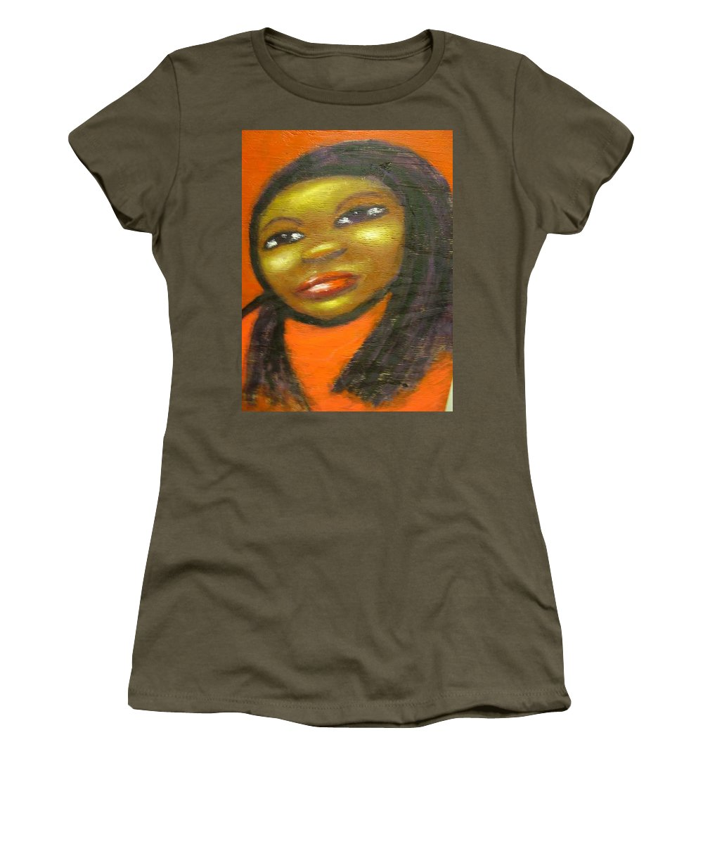Lady In A Red Dress Women's T-Shirt (Athletic Fit) featuring the painting B by Jan Gilmore