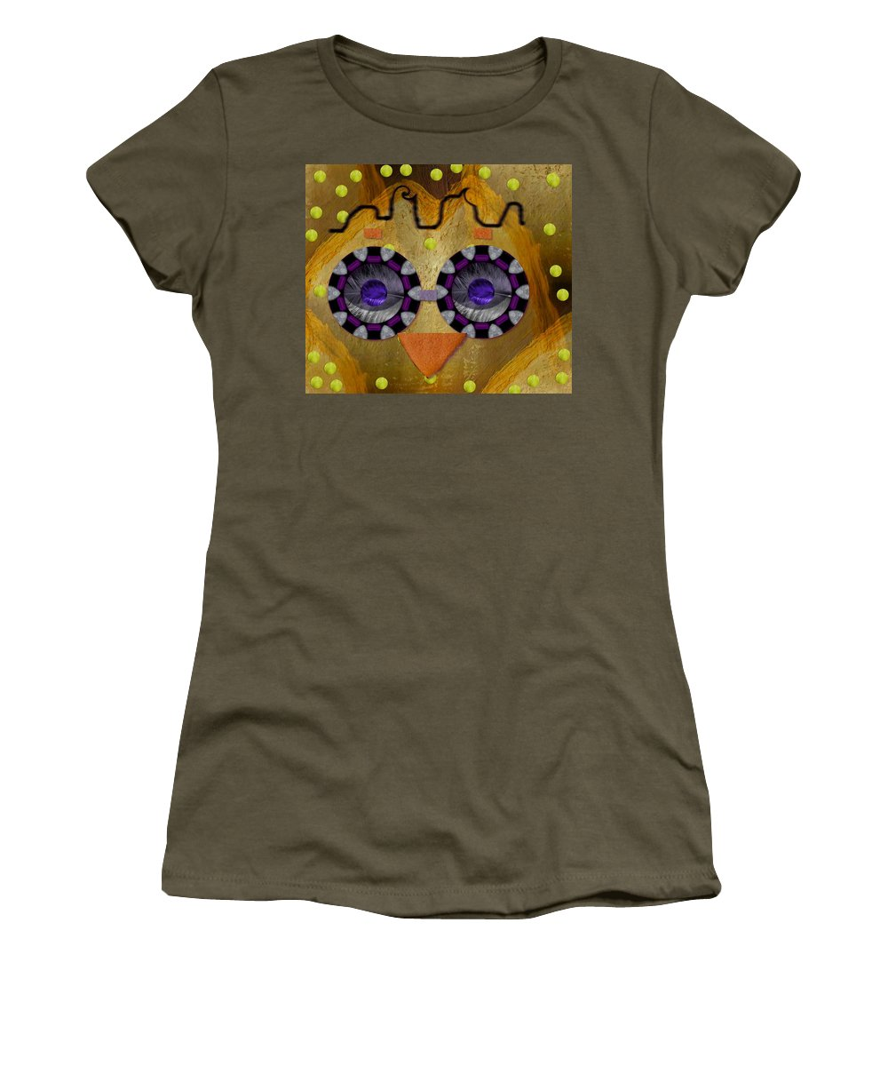 Owl Women's T-Shirt (Athletic Fit) featuring the mixed media Baby Owl Is So Cute In The Forrest by Pepita Selles