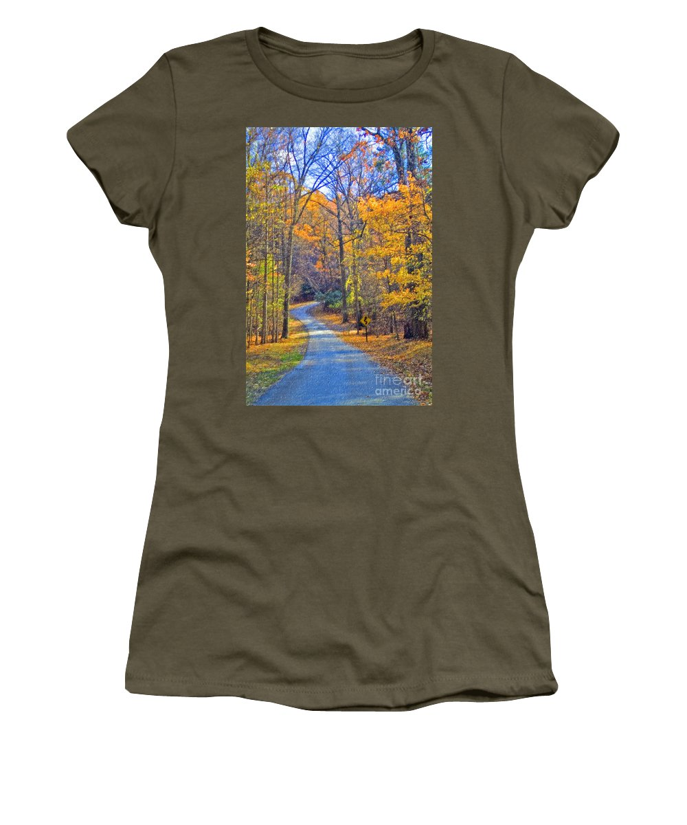 Back Road Fall Colors Foliage Revolutionary Civil War Road Valley Forge Pa Women's T-Shirt (Athletic Fit) featuring the photograph Back Road Fall Foliage by David Zanzinger