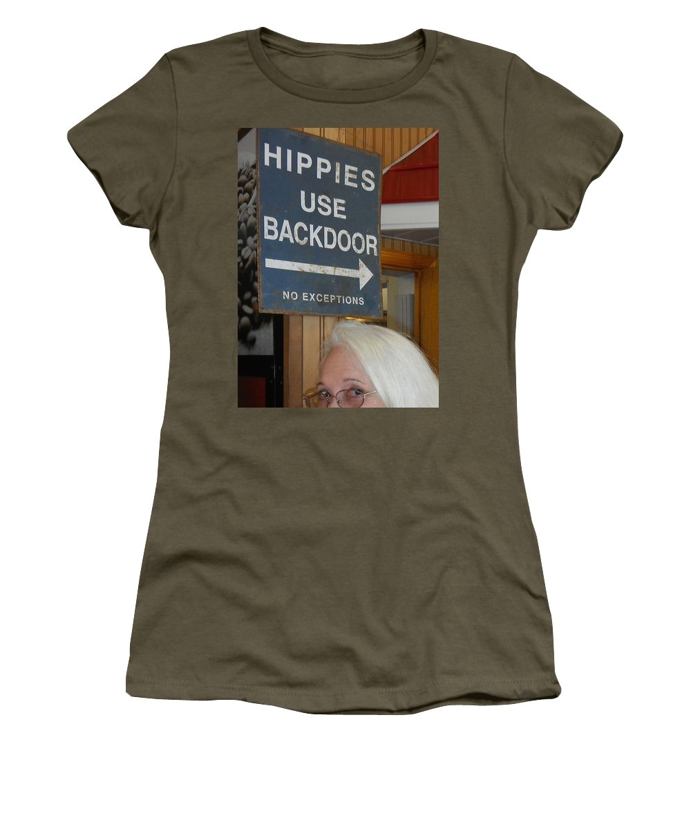 Eyes Women's T-Shirt featuring the photograph Backdoor by Shirley Goss