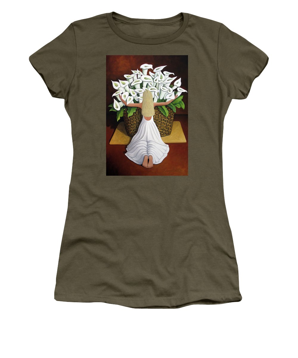 Garden Women's T-Shirt featuring the painting Baileyrae Lilies by Lance Headlee