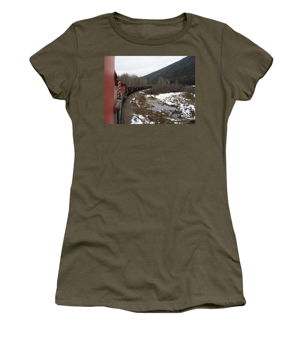 Photograph Train Mountain Snow Winter Tree Nature Women's T-Shirt (Athletic Fit) featuring the photograph Ballast Train by Seon-Jeong Kim