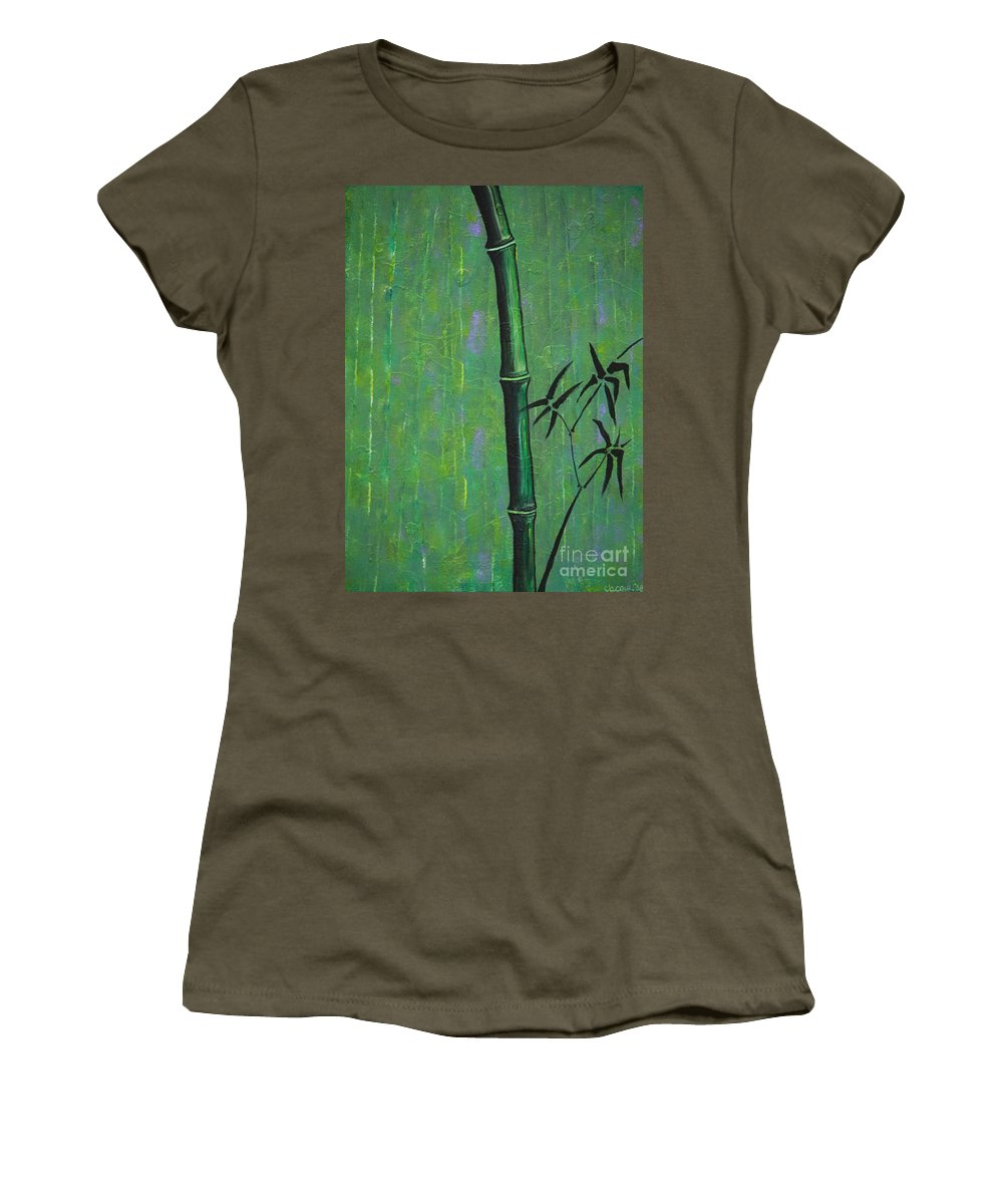 Bamboo Women's T-Shirt featuring the painting Bamboo by Jacqueline Athmann