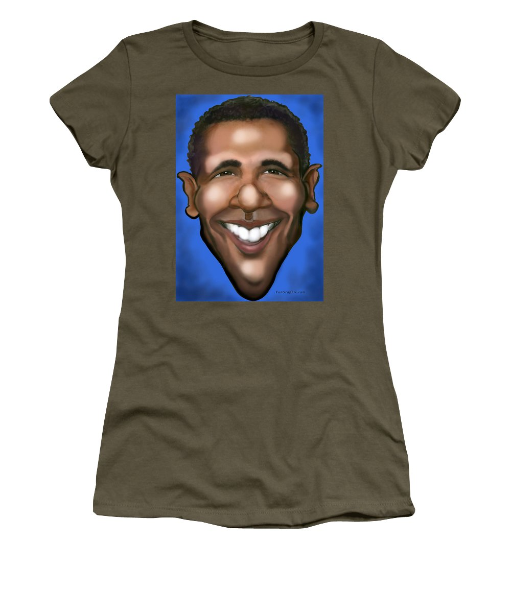 Barack Obama Women's T-Shirt featuring the painting Barack Obama by Kevin Middleton