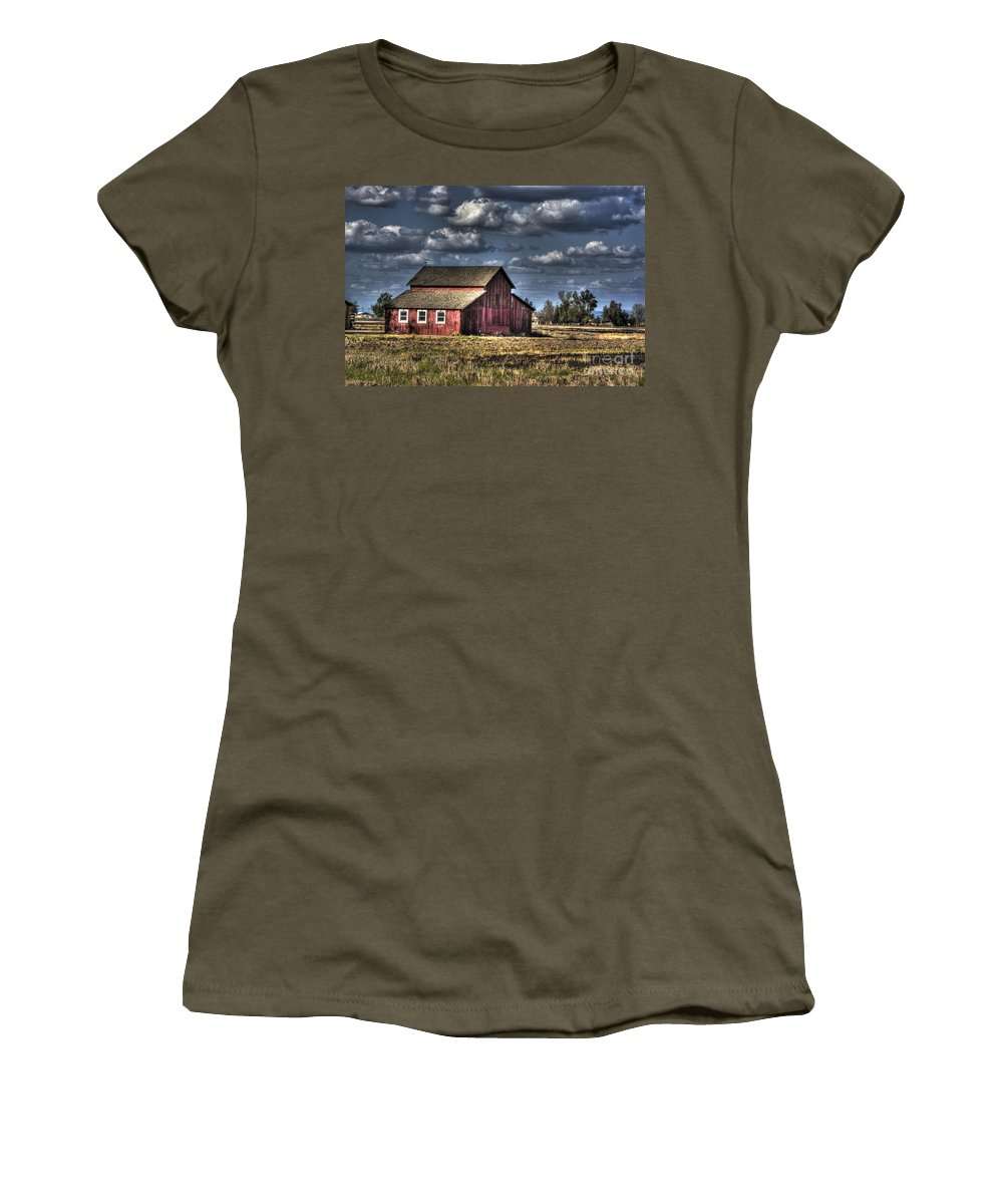 Barn Women's T-Shirt (Athletic Fit) featuring the photograph Barn After Storm by Jim And Emily Bush