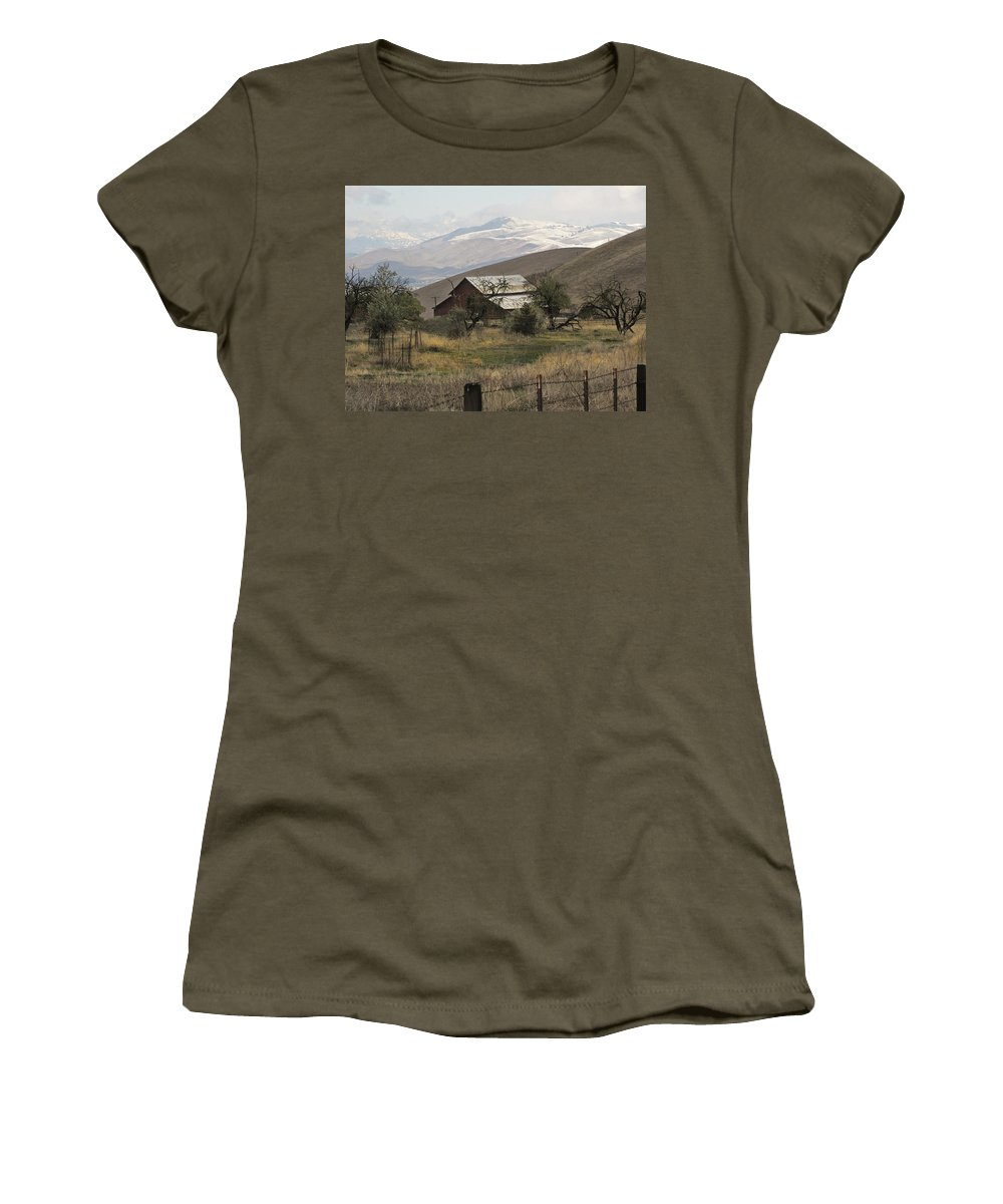 Barn Women's T-Shirt featuring the photograph Barn And Snow by Karen W Meyer