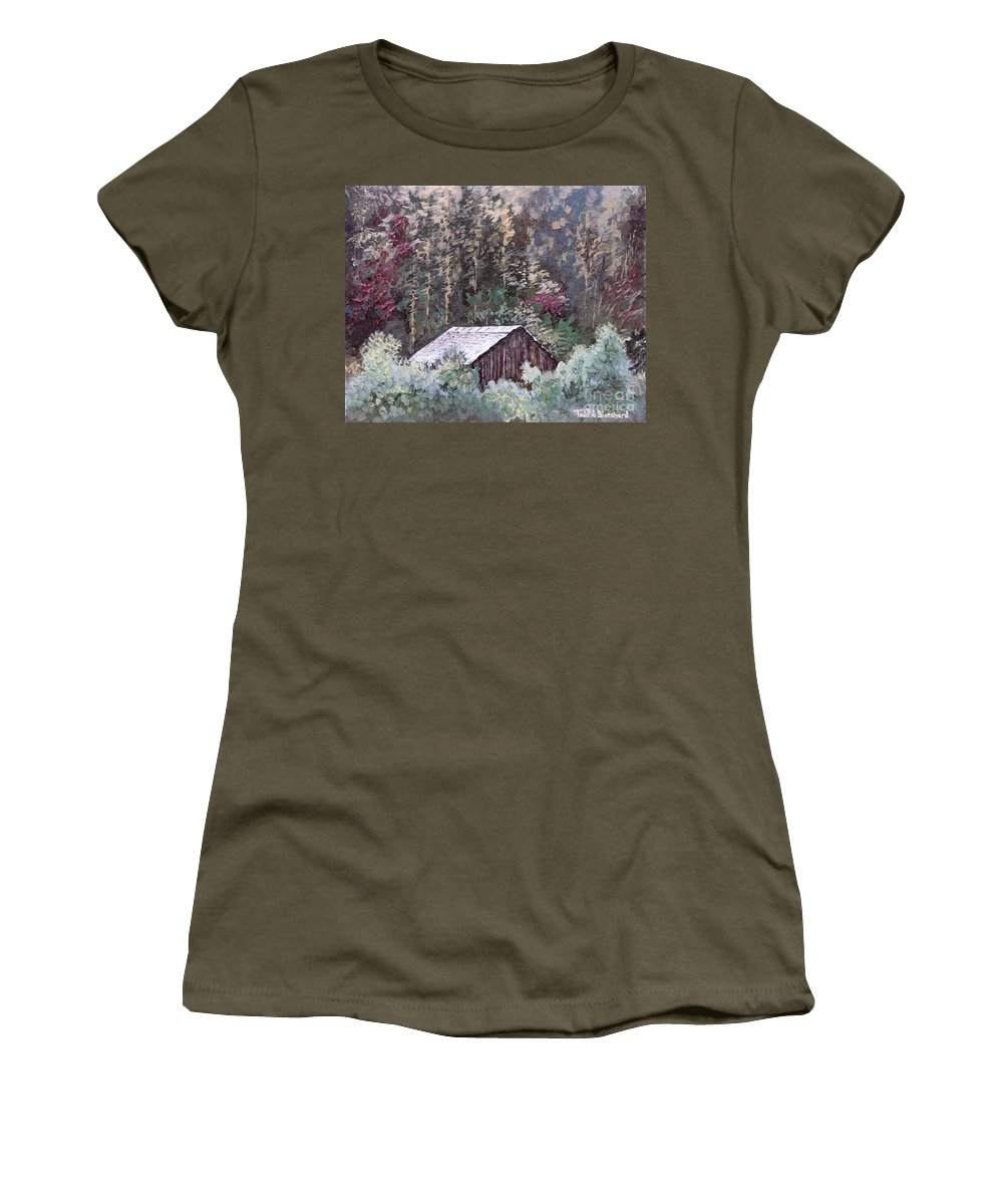 Landscape Women's T-Shirt featuring the painting Barn At Cades Cove by Todd Blanchard
