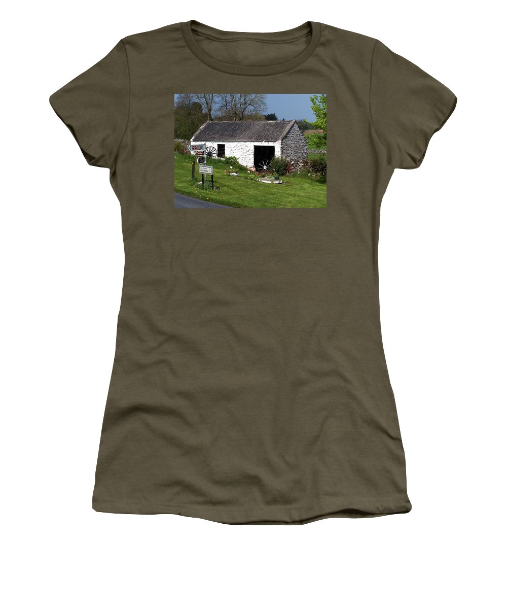 Ireland Women's T-Shirt (Athletic Fit) featuring the photograph Barn At Fuerty Church Roscommon Ireland by Teresa Mucha