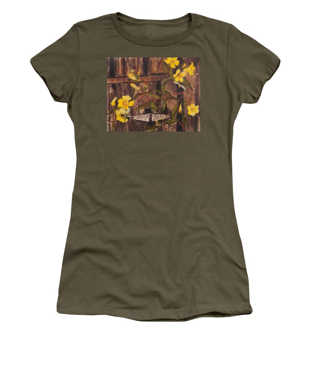Flower Women's T-Shirt featuring the painting Barn Door Hinge by Jean Blackmer