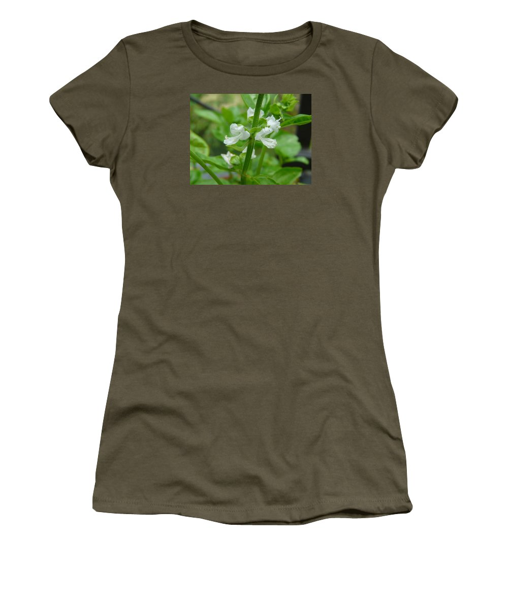 Plant Women's T-Shirt (Athletic Fit) featuring the photograph Basil Blossom by Valerie Ornstein