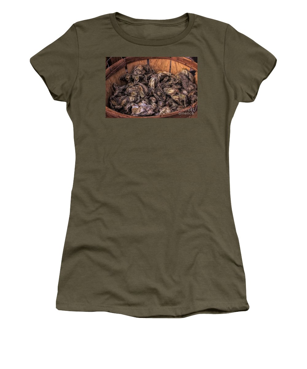 Oysters Women's T-Shirt featuring the photograph Basket Full Of Oysters by Paulette Thomas