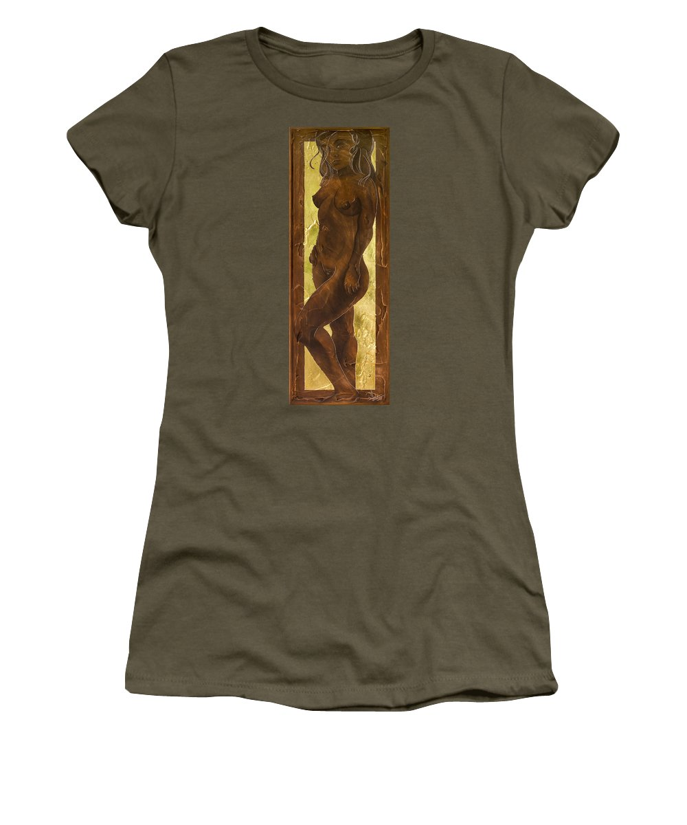 Nude Women's T-Shirt (Athletic Fit) featuring the painting Basking In The Glow by Richard Hoedl