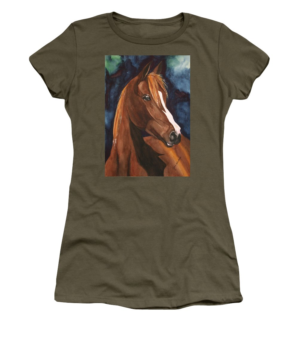 Horse Women's T-Shirt featuring the painting Bay On Blue 2 by Jean Blackmer