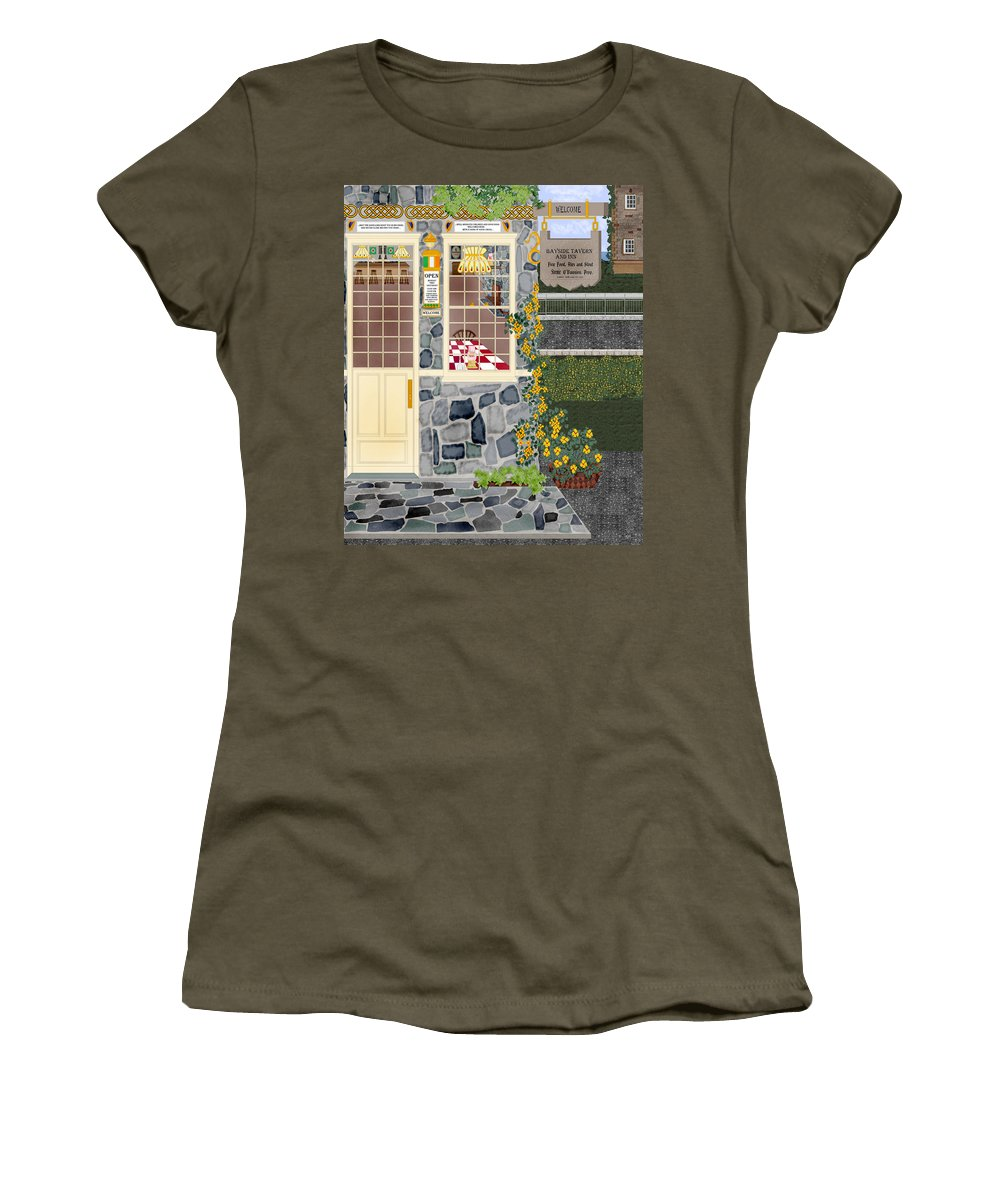 Quaint Inn Women's T-Shirt featuring the painting Bayside Inn And Tavern In Ireland by Anne Norskog