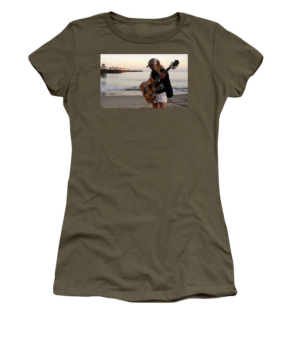 Pier Women's T-Shirt featuring the photograph Beach Musician by Bob Christopher